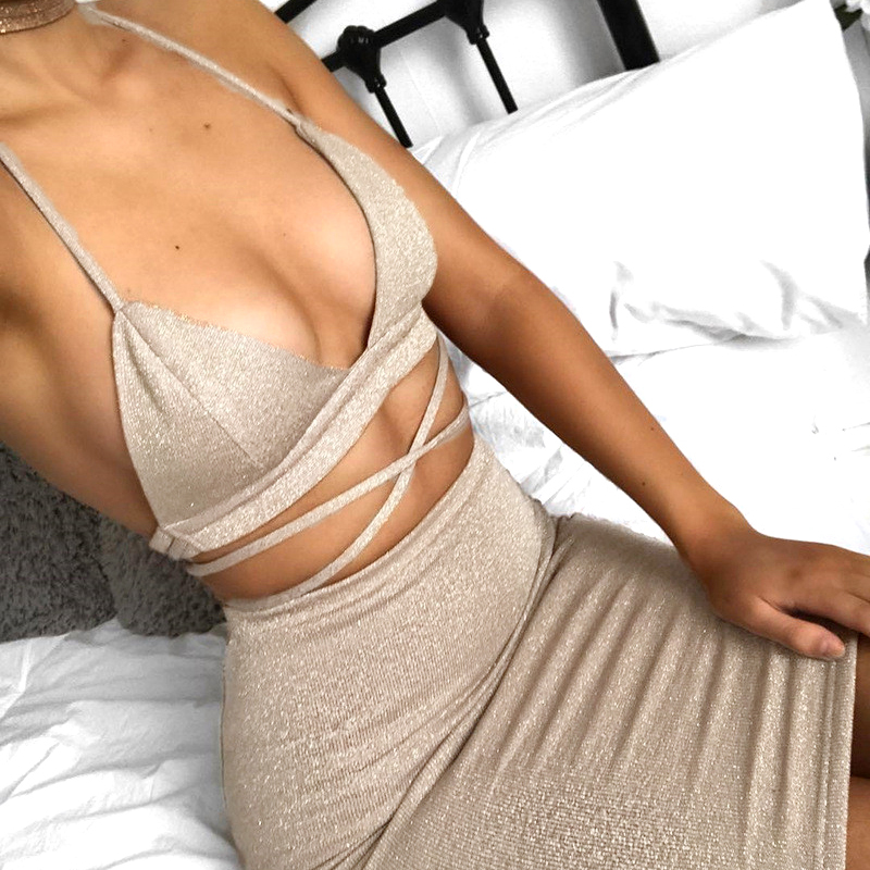 2019 Women 2 Piece Bodycon Two Piece Crop Top And Skirt Set Lace Up Dress Party XZZ