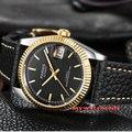 36 мм Parnis черный циферблат сапфировое стекло Кожа Miyota автоматические мужские часы P519