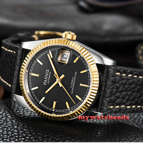 36mm Parnis black dial Sapphire glass leather Miyota automatic mens watch P519 42mm parnis withe dial sapphire glass miyota 9100 automatic mens watch 666b