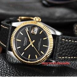 36mm czarna tarcza parnis szafirowe szkło skórzane Miyota automatyczny męski zegarek P519