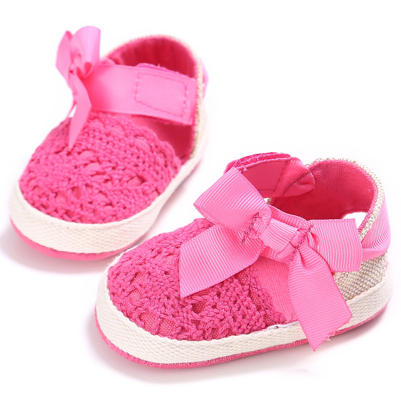 Lovely Infant Toddler Princess First Walkers Baby Girls Kid Prewalker Soft Soled Shoe Bow Dress Knitting Shoes Footwear Newborn