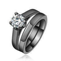 Wholesale New Fashion Female Jewelry White Sapphire 3 Pcs Ring Sets Rhodium Filled Rings For Women