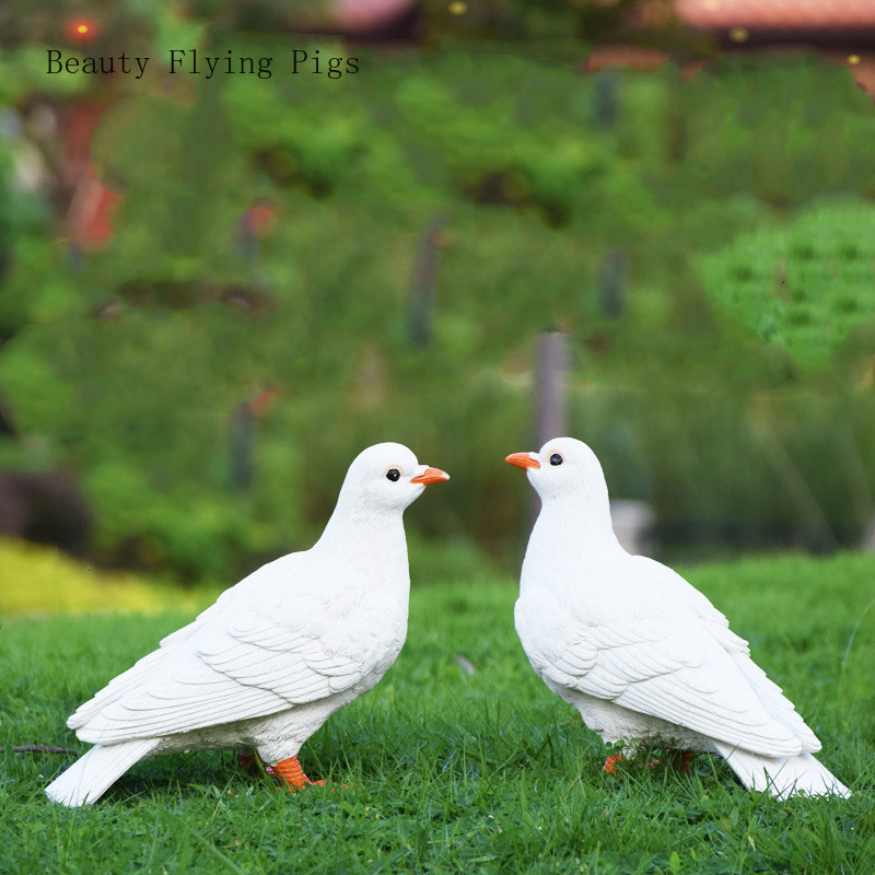 Garden landscape sculpture simulation animal pigeons small outdoor garden courtyard decoration villa yard creative decoration(China)