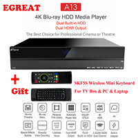 Egreat A13 4K UHD Blu ray HDD Media Player, Dual Built in HDD, Dual HDMI Output Android TV Box Best Choice for Cinema or Theatre