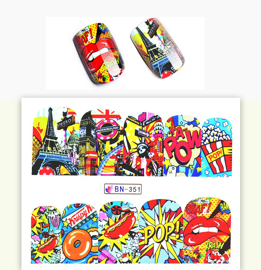 1 Sheet 17 New Nail Fashion Sticker Full Cover Lips Cute Printing Water Transfer Tips Nail Art Decorations 2
