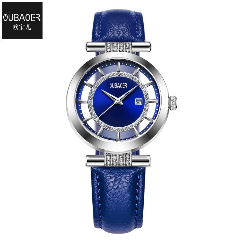 OUBAOER Women's Fashion Luxury Ladies Quartz Watches Montre Femme Dress Watch Genuine Leather Wristwatches Female Clock For Gift