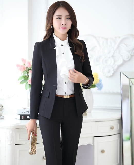 2bc0af0a3f220 Plus Size 4XL Formal OL Styles Female Pantsuits Professional Business Women  Suits Jackets And Pants Autumn Winter Trousers Set-in Pant Suits from ...