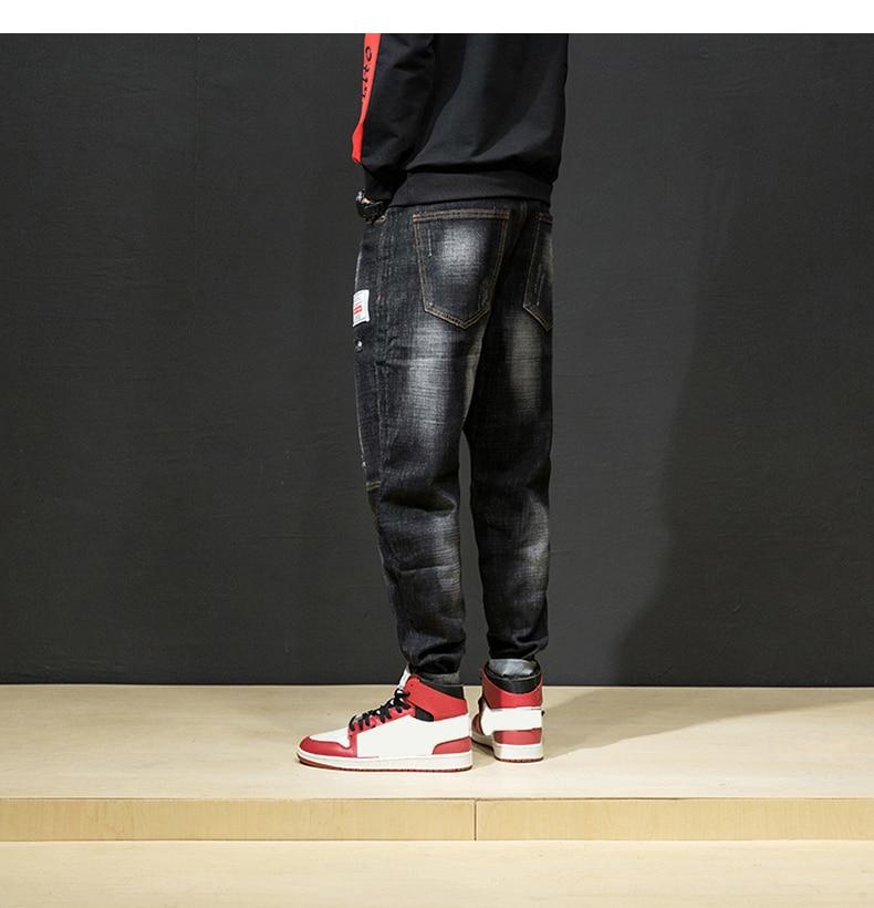 KSTUN Ripped Jeans for Men Haren Pants Loose Wide Leg Cotton Streetwear Hiphop Mens Jeans Black 2018 Clothes Large Size 42 16