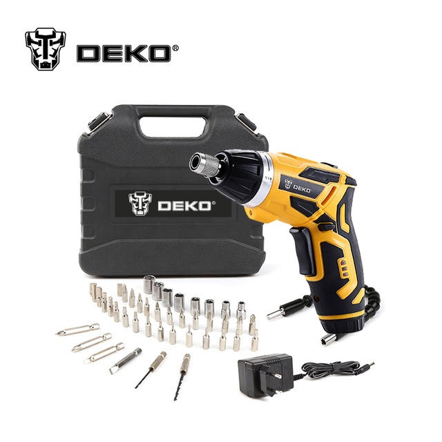 Electric Screwdriver Household Rechargeable Screwdriver with Twistable Handle & 45 Piece Accessories DEKO GCD3.6DKB 4V Cordless