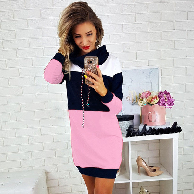Elegant Casual Long Sleeve Hoodie Mini Dress
