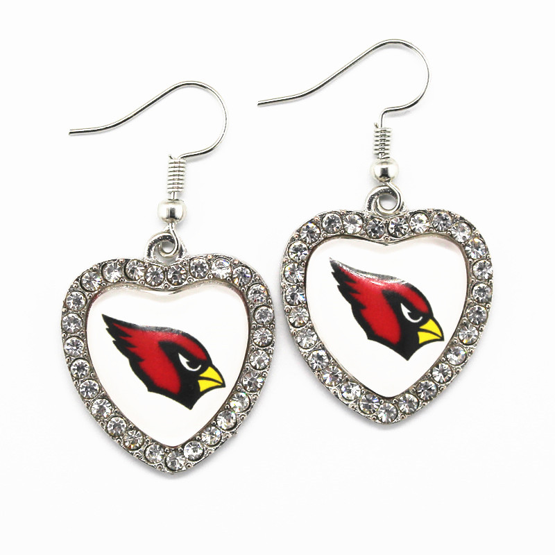 Hot Sale 6pairs Silver Heart Earring Arizona Cardinals Football Sports Team Long Earrings Charms For Womem Earring Jewelry
