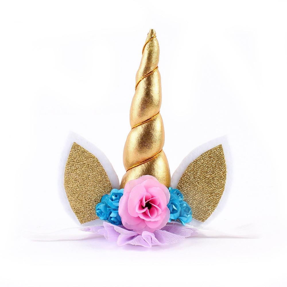 Flor coroa tiara unicórnio, meninas Ouvidos Cabeça Chifre de Unicórnio, primeira Festa de Aniversário de Presente