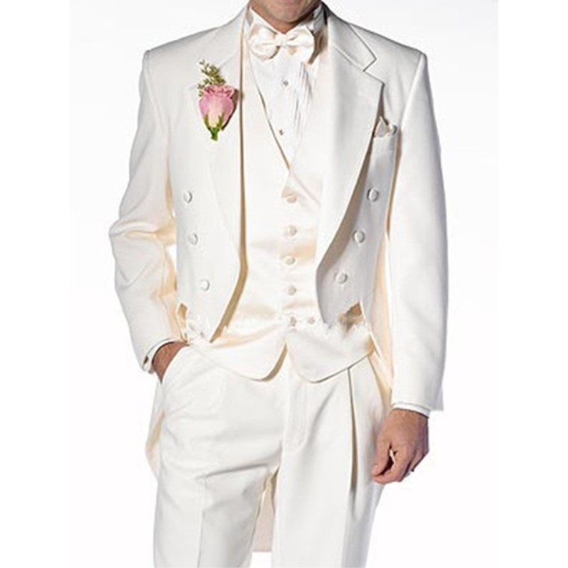 2020 Ivory Italian Stylish Mens Tailcoat Wedding Suits Groomsmen Suits Slim Fit Groom Tuxedos Men Suit Set (Jacket+Pants+Vest)-in Suits from Men's Clothing    1