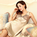 New Summer Nightgown Sexy Underwear Women Flounced Lace V-Neck Retro Style Women Silk Sleepwear Three Color Options Nightdress