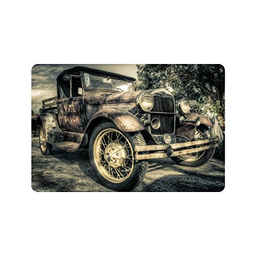 Old Car Vintage Clic Custom Doormat Entrance Mat Floor Rug Mats Rubber Non Slip Size