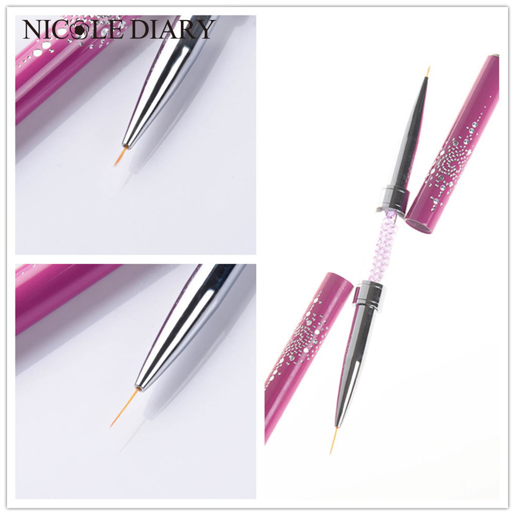 NICOLE DIARY Official Store Double-ended Nail Art Liner Brush Ultra-thin Line Drawing Pen Rhinestone Nail Art Manicure Tool   8313549