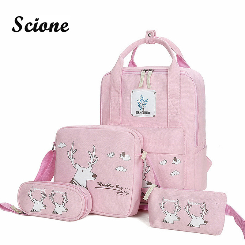 Scione 4PCS Backpack Set Women Student School Bags for Teenager Girls Canvas Bookbags Laptop Backpacks Travel