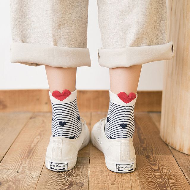 5Pairs New Arrivl Women Cotton Socks White Red Heart Socks Short Socks Casual Animal Ear Red Heart Gril In tube Socks 35-40 1