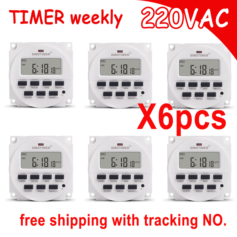 220V 7 Days Programmable BIG LCD 1.6 inch Time Switch with UL listed Relay inside Timer Electric Programme