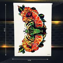 Queen Wings Designs Waterproof Removable Tattoo Women Men Body Art Sleeve Arm Tattoo Neck CHoker Pattern 21x15CM Wall Sticker