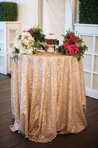 48inch Round Sequin Tablecloth In Champagne Gold Or Silver More Colors Overlays