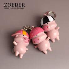 Zoeber 2018 Cartoon Cute McDull LED Keychain Women Funny Animal Little Pig Key Holder Caps Anime Car Bag Pendant Key Chain(China)