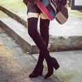 Senhoras doces Tecido Stretch Perna Fina Botas Altas 4 cores Da Moda sobre o Joelho Botas Mulheres Toe pontas Grossas Botas Longas de Salto Alto