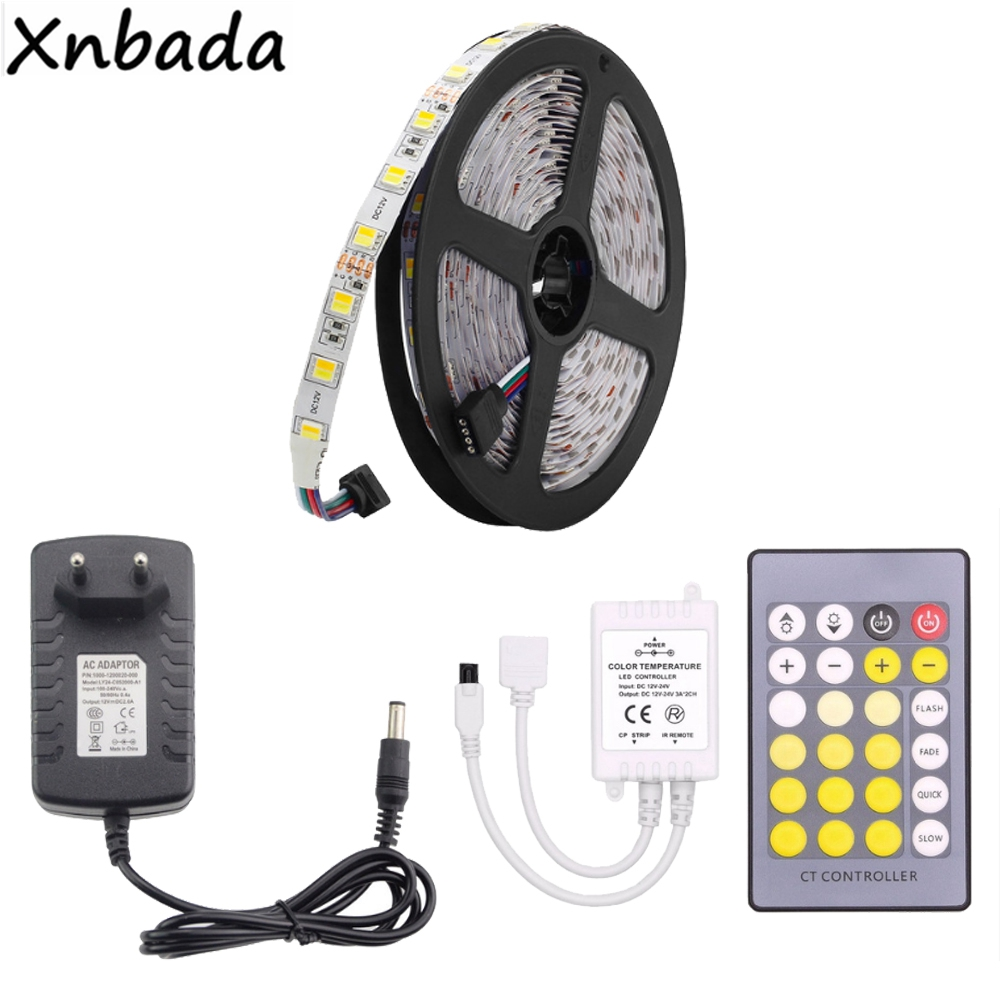 5M SMD5050 Led Strip Color Temperature Flexible Light,24Keys IR CCT Led Controller Power Supply Driver DC12V Kit