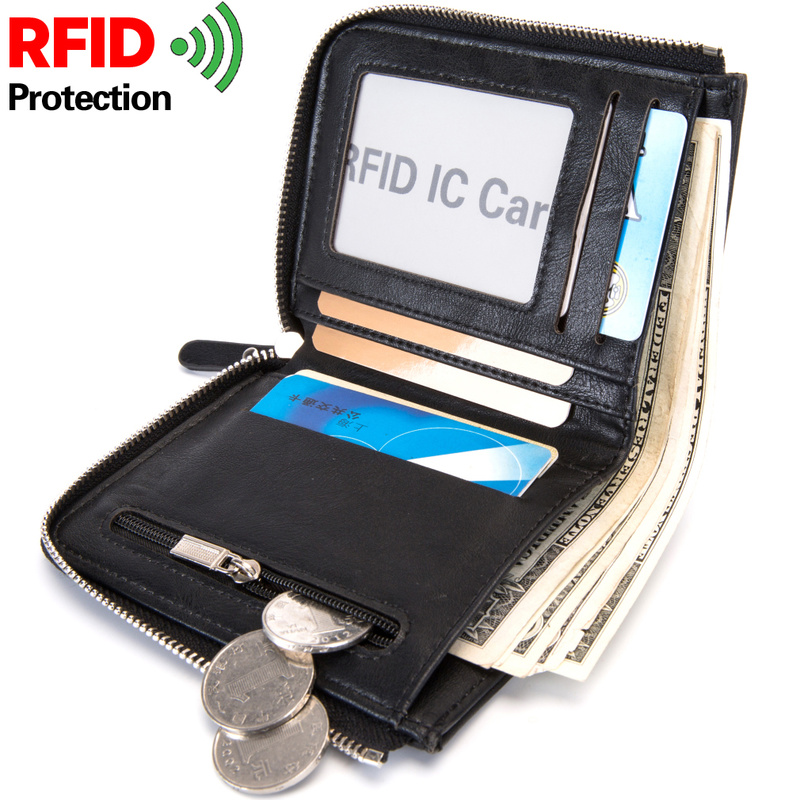 RFID Theft Protec Coin Bag Zipper Men Wallets Famous Brand Mens Wallet Male Money Purses Wallets New Design Top Men Wallet 5