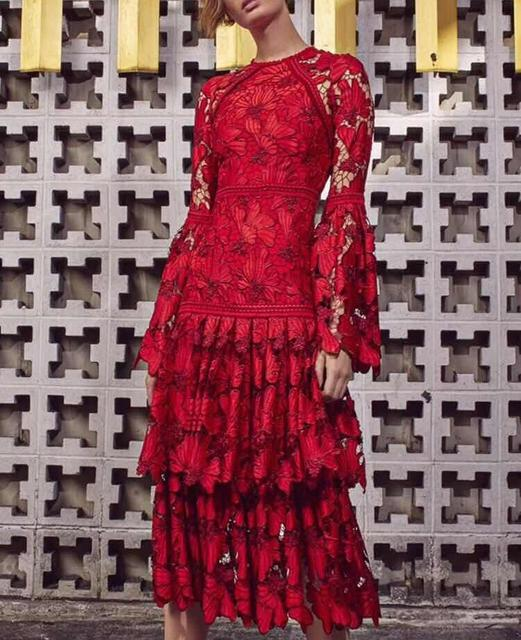 9f8680d06e7 WISHBOP Romantic Red Defina lace tiered dress Long Sleeved Flared Cuffs  Zipper Back Woman Ruffles Midi Dress 2018 Fw