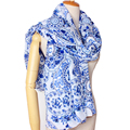 2016 New Arrival Winter Fashion Women Chinese Traditonal Blue and White Porcelain All Matched Long 180cm Viscose Scarf