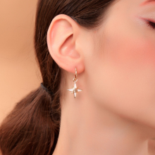 Joolim White Moon Star Hoop Earring Delicate Earring Design Jewelry цена