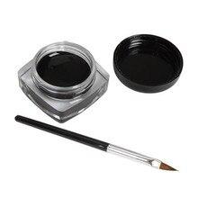 2016 1x Eyeliner Gel Cream With Brush Makeup Black Waterproof Eye Liner suits for women beauty best deal wholesale
