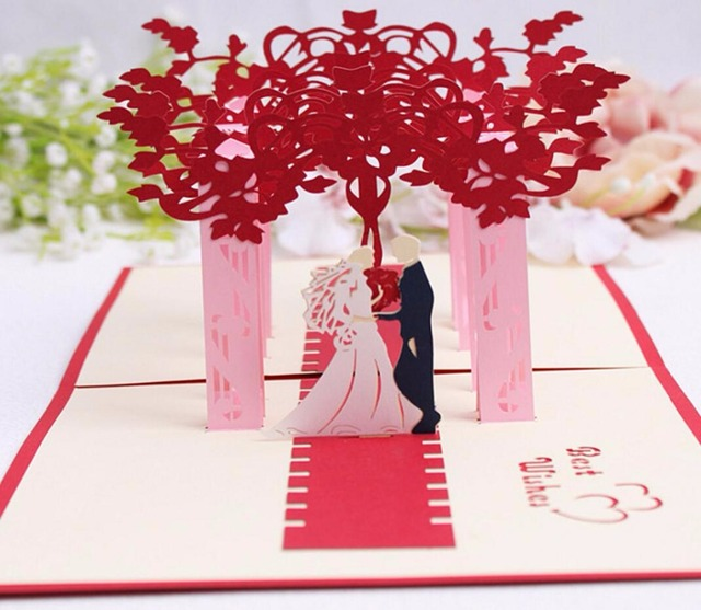 Origami Wedding Invitations: 10pcs 3D Red Trees Forest Couple Handmade Kirigami Origami