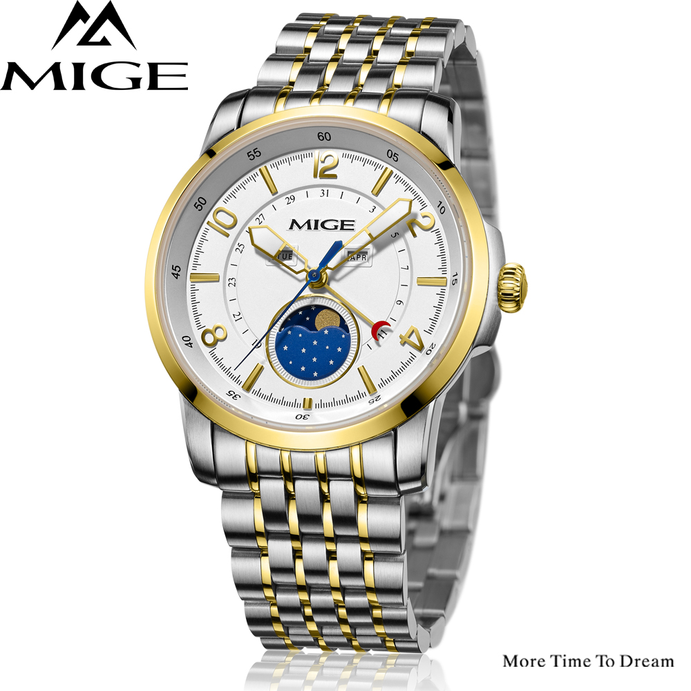 Mige 2017 Top Fashion Time-limited Sale Sport Watch White Steel Watchband Saphire Dial Waterproof Case Quartz Man Wristwatches mige 20017 new hot sale top brand lover watch simple white dial gold case man watches waterproof quartz mans wristwatches