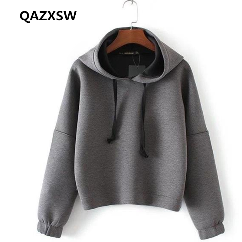 2019 Hot Autumn Winter Women Sweatshirts Fashion Simple Casual Thicken Cotton Outerwear Loose Pullover Hooded Solid Coat CZ206
