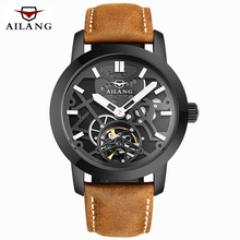 AILANG Mecánica Relojes hombres Marca de Lujo Reloj Militar Del Relogio masculino 2016 de Cuero Hollow Esqueleto Reloj Relojes Hombre