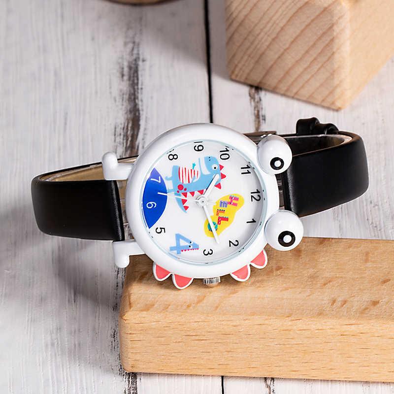 2019 KDM Cute Children Watch Lovely Kids Boys Watches Cartoon Dinosaur Waterproof Genuine Leather Kid Wristwatch Students Clock