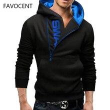 6cf320936 FAVOCENT Hoodie Oblique Zipper Solid Color Hoodies Men Fashion Letter  Tracksuit Male Sweatshirt Hoody Mens Purpose