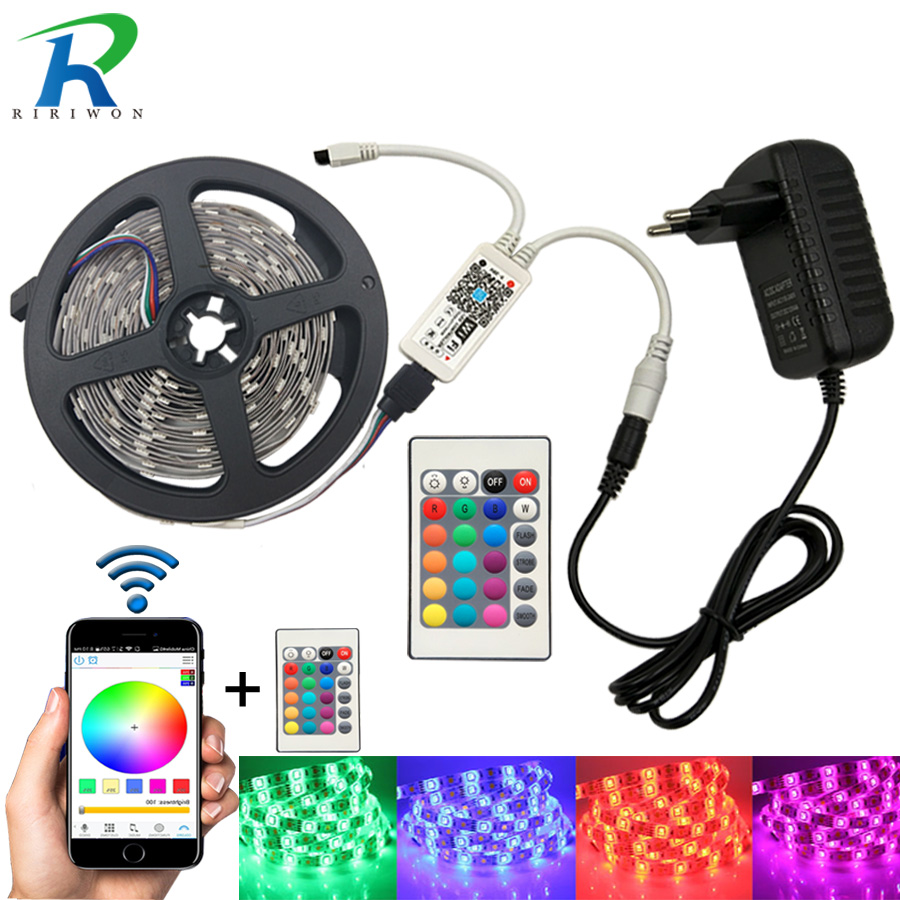 Wifi 5M 10M 15M RGB LED Strip SMD 5050 Led Strip Ljus Vattentät Tape DC 12V Flexibel Fita Neon Band Tape med Wifi kontroll