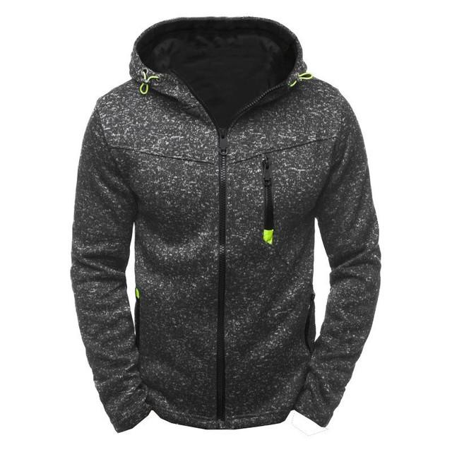 Men Fashion Personality Zipper Sweatshirt Solid Color