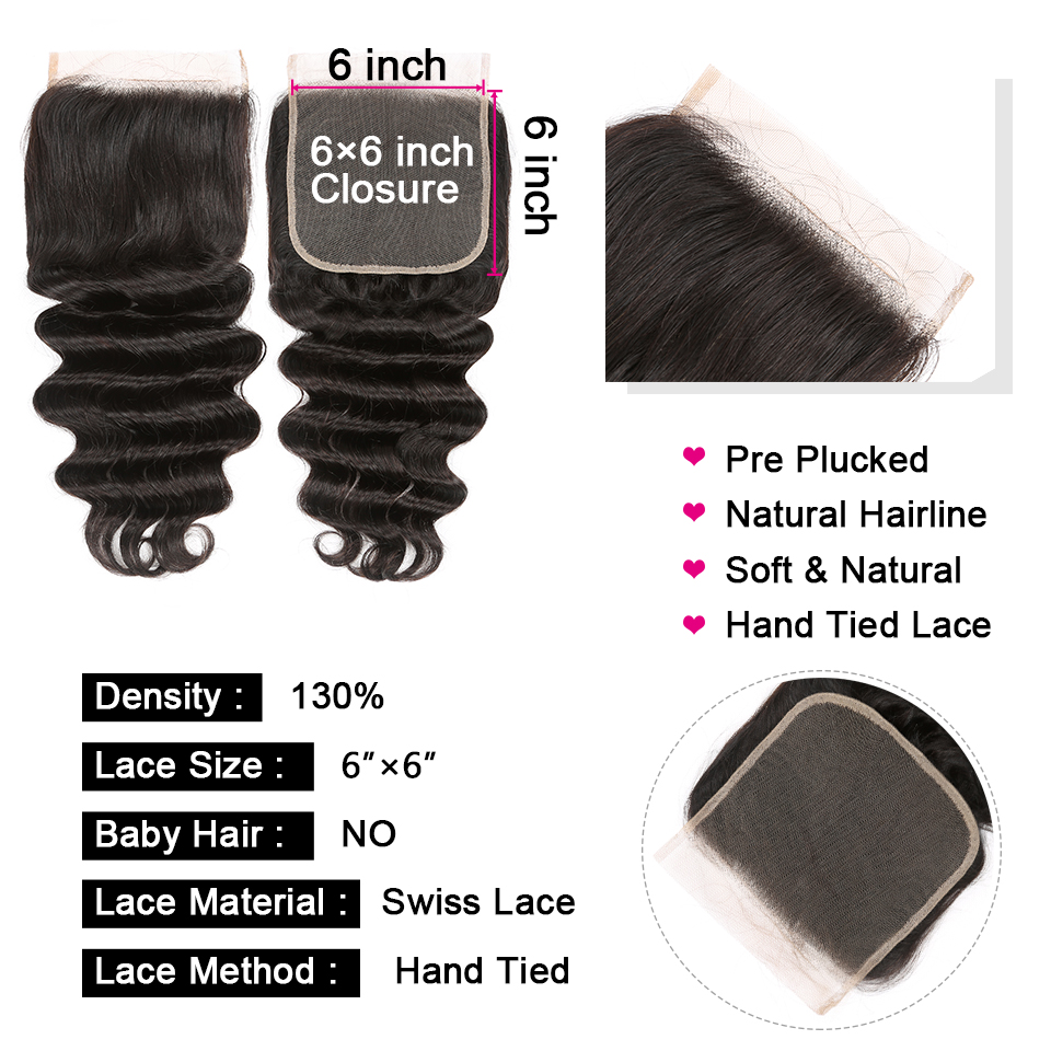 Loose Deep Wave 4x4 & 6x6 Closure With Bundle  3/4 Bundles With Closures   Hair Bundles With Lace Closure 6