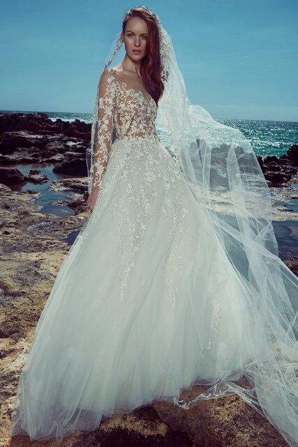 Zuhair Murad Bridal Wear Gown Robe De Mariage Y See Through Body Formal Long Sleeves Bride
