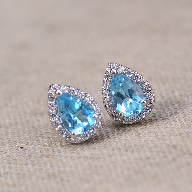 aliexpress buy topaz earring sky blue and