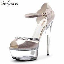 a59b8e4228 Sorbern 15 cm 17 cm Saltos Claros Saltos Bloco Sexy Sapatos De Luxo Das  Mulheres Tamanho
