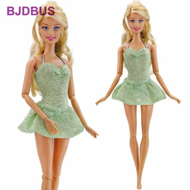 1 PCS Fashion Short Dress Braces Party Wear Sexy Green Mini Skirt Clothes  For Barbie Doll 12a31714349d