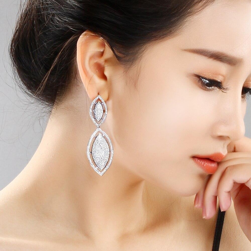 6.6 boucles d'oreilles pendantes à très longues feuilles blanc/couleur or nuptiale de mariage Micro Pave Zircon bijoux boucles d'oreilles pour femmes