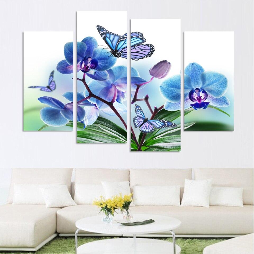 Оптовая продажа Красивая Бабочка цветы орхидеи напечатаны на холсте для Гостиная Home Decor Wall Книги по искусству эффект масла картина без рамк...