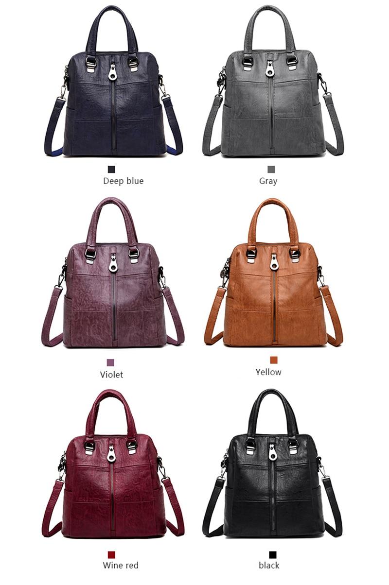 HTB1MP59djbguuRkHFrdq6z.LFXau 3-in-1 Women Leather Backpacks Vintage Female Shoulder Bag Sac a Dos Travel Ladies Bagpack Mochilas School Bags For Girls Preppy
