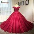 Потрясающие красное вино с плеча принцессы бальное платье свадебное платье